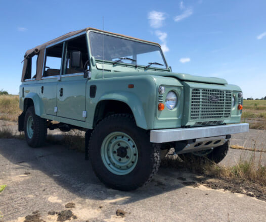Green Land Rover - front